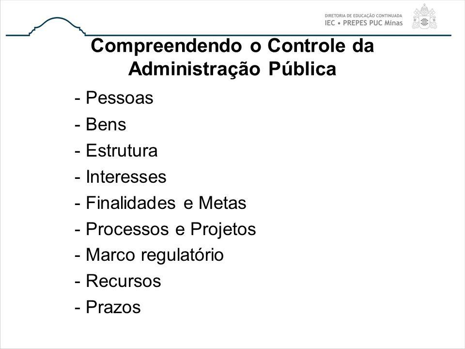 Compreendendo o Controle da Administração Pública - Pessoas - Bens - Estrutura - Interesses - Finalidades e Metas - Processos e Projetos - Marco regul