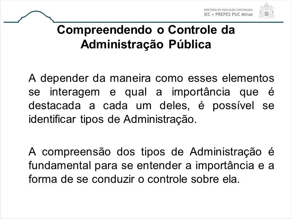Compreendendo o Controle da Administração Pública A depender da maneira como esses elementos se interagem e qual a importância que é destacada a cada