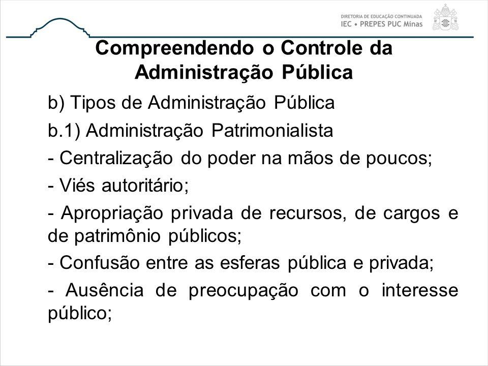 Compreendendo o Controle da Administração Pública b) Tipos de Administração Pública b.1) Administração Patrimonialista - Centralização do poder na mão