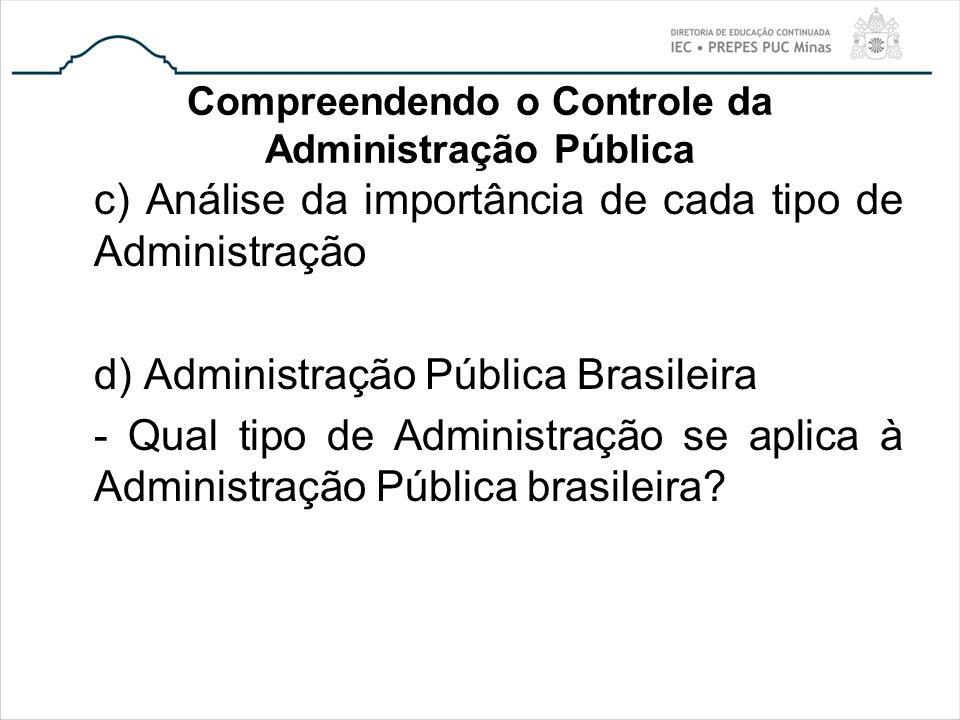 Compreendendo o Controle da Administração Pública c) Análise da importância de cada tipo de Administração d) Administração Pública Brasileira - Qual t
