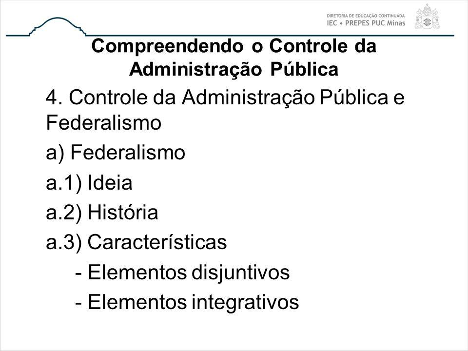 Compreendendo o Controle da Administração Pública 4. Controle da Administração Pública e Federalismo a) Federalismo a.1) Ideia a.2) História a.3) Cara