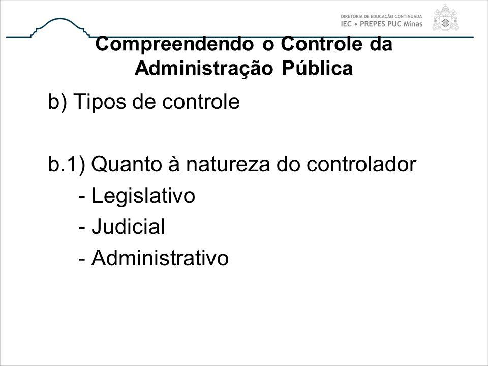 Compreendendo o Controle da Administração Pública b) Tipos de controle b.1) Quanto à natureza do controlador - Legislativo - Judicial - Administrativo