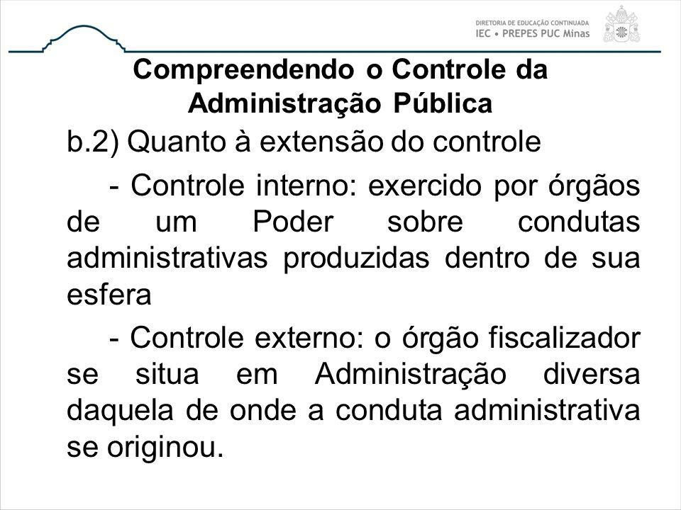 Compreendendo o Controle da Administração Pública b.2) Quanto à extensão do controle - Controle interno: exercido por órgãos de um Poder sobre conduta