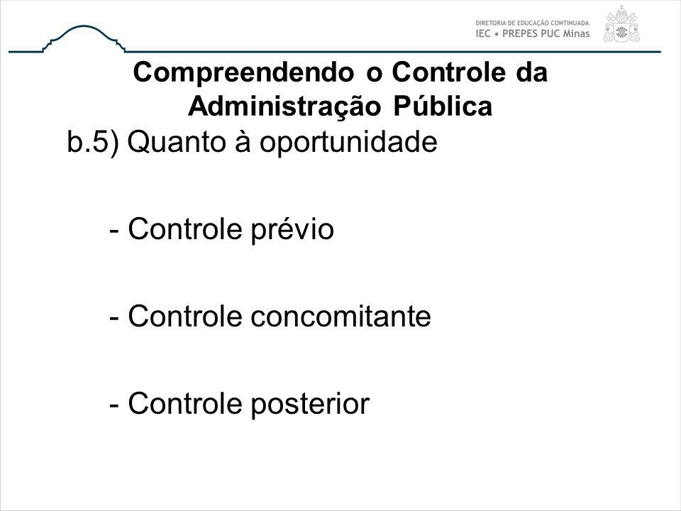 Compreendendo o Controle da Administração Pública b.5) Quanto à oportunidade - Controle prévio - Controle concomitante - Controle posterior