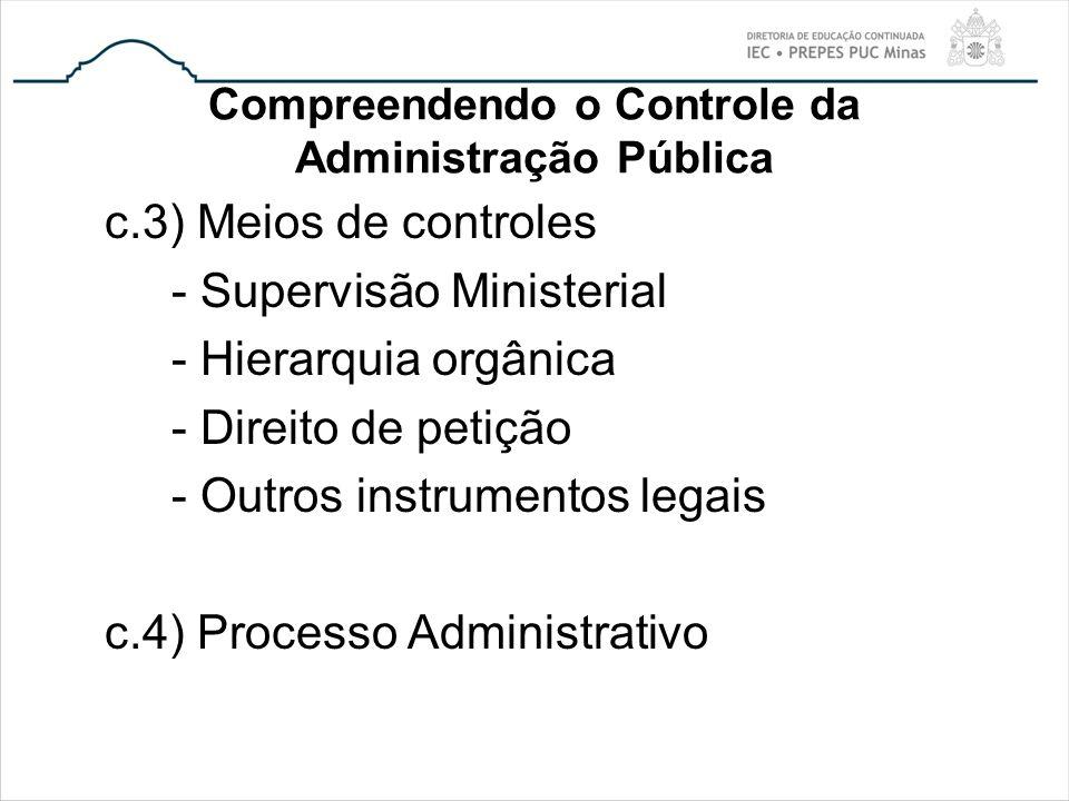 Compreendendo o Controle da Administração Pública c.3) Meios de controles - Supervisão Ministerial - Hierarquia orgânica - Direito de petição - Outros