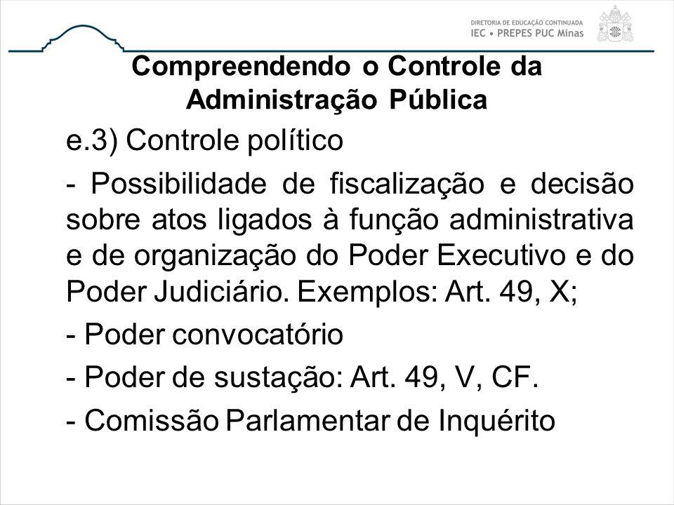 Compreendendo o Controle da Administração Pública e.3) Controle político - Possibilidade de fiscalização e decisão sobre atos ligados à função adminis
