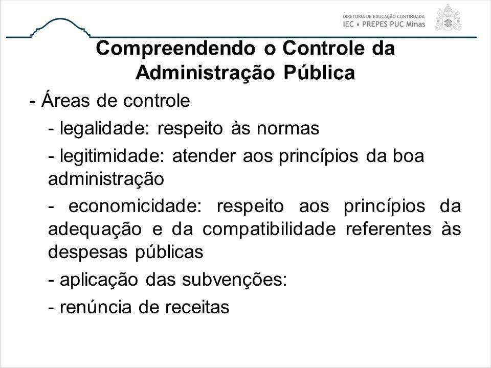 Compreendendo o Controle da Administração Pública - Áreas de controle - legalidade: respeito às normas - legitimidade: atender aos princípios da boa a