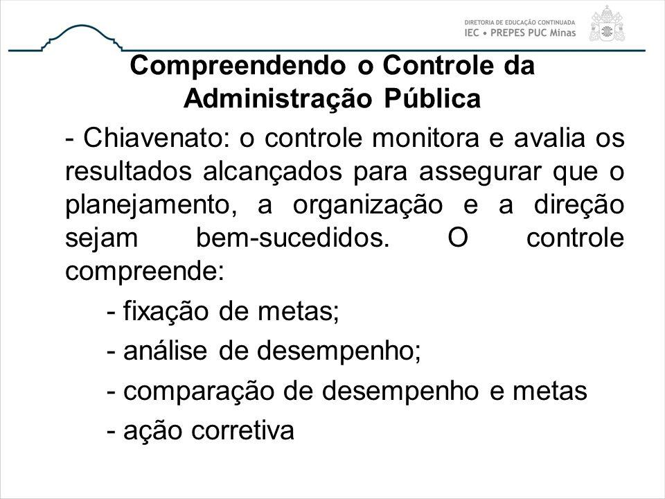 Compreendendo o Controle da Administração Pública - Chiavenato: o controle monitora e avalia os resultados alcançados para assegurar que o planejament