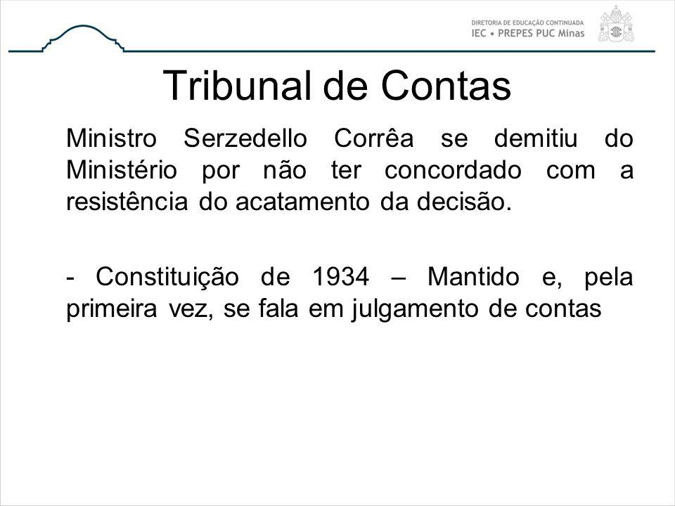 Tribunal de Contas Ministro Serzedello Corrêa se demitiu do Ministério por não ter concordado com a resistência do acatamento da decisão. - Constituiç