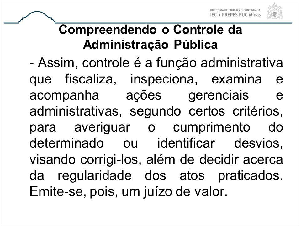 Compreendendo o Controle da Administração Pública - Assim, controle é a função administrativa que fiscaliza, inspeciona, examina e acompanha ações ger