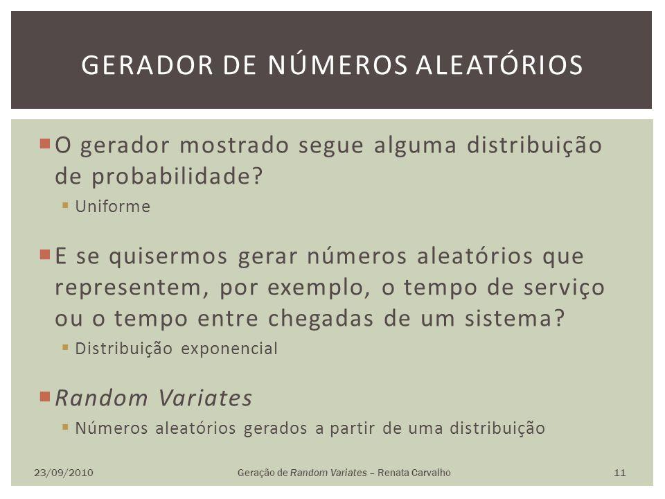 O gerador mostrado segue alguma distribuição de probabilidade? Uniforme E se quisermos gerar números aleatórios que representem, por exemplo, o tempo