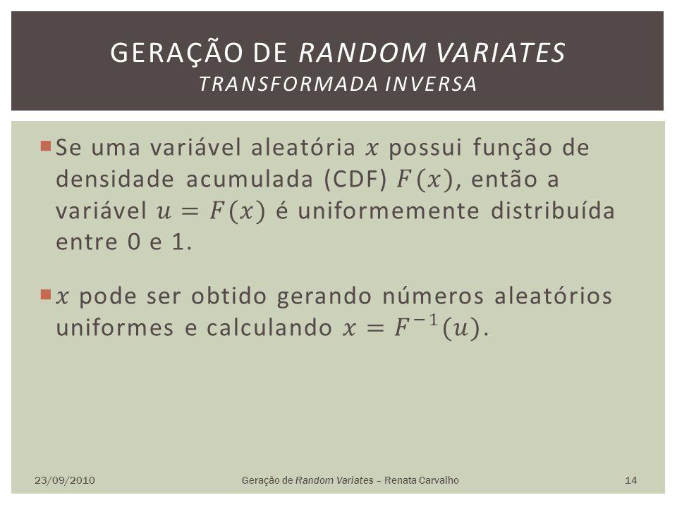 23/09/2010Geração de Random Variates – Renata Carvalho 14 GERAÇÃO DE RANDOM VARIATES TRANSFORMADA INVERSA