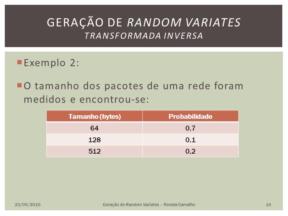 Exemplo 2: O tamanho dos pacotes de uma rede foram medidos e encontrou-se: 23/09/2010Geração de Random Variates – Renata Carvalho 16 GERAÇÃO DE RANDOM