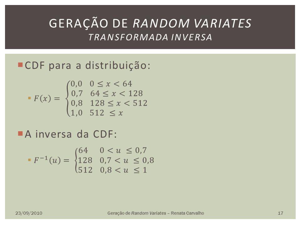 23/09/2010Geração de Random Variates – Renata Carvalho 17 GERAÇÃO DE RANDOM VARIATES TRANSFORMADA INVERSA