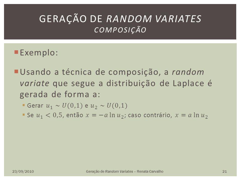 23/09/2010Geração de Random Variates – Renata Carvalho 21 GERAÇÃO DE RANDOM VARIATES COMPOSIÇÃO