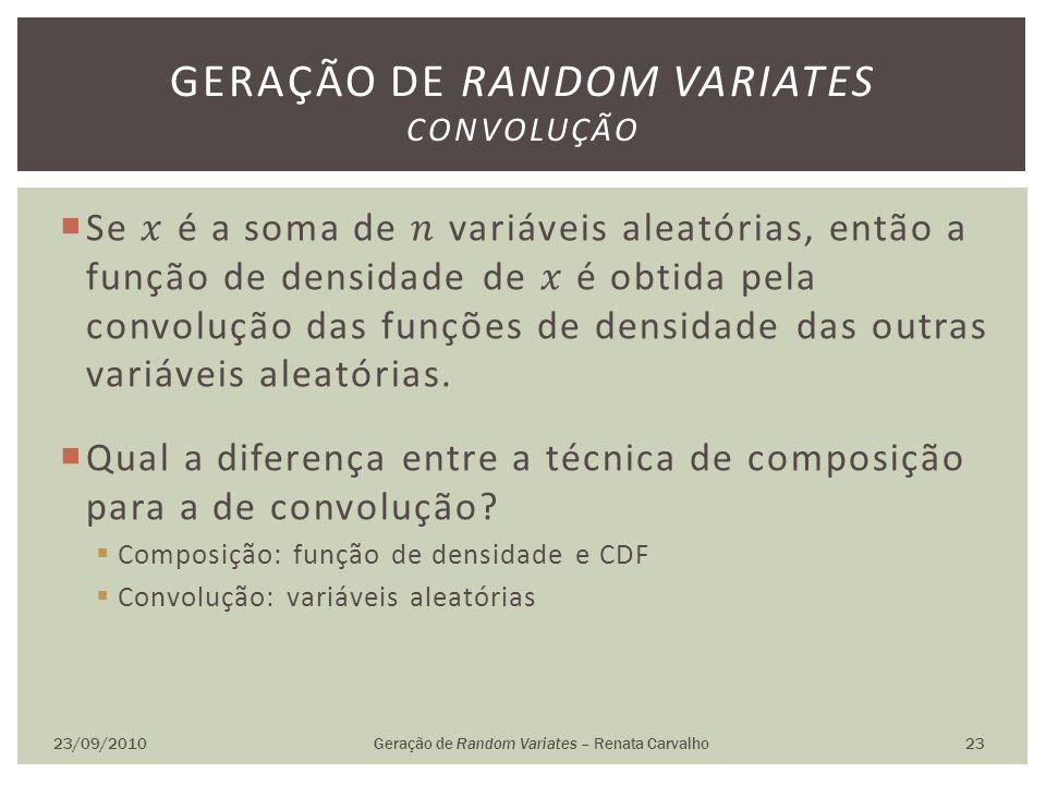 23/09/2010Geração de Random Variates – Renata Carvalho 23 GERAÇÃO DE RANDOM VARIATES CONVOLUÇÃO