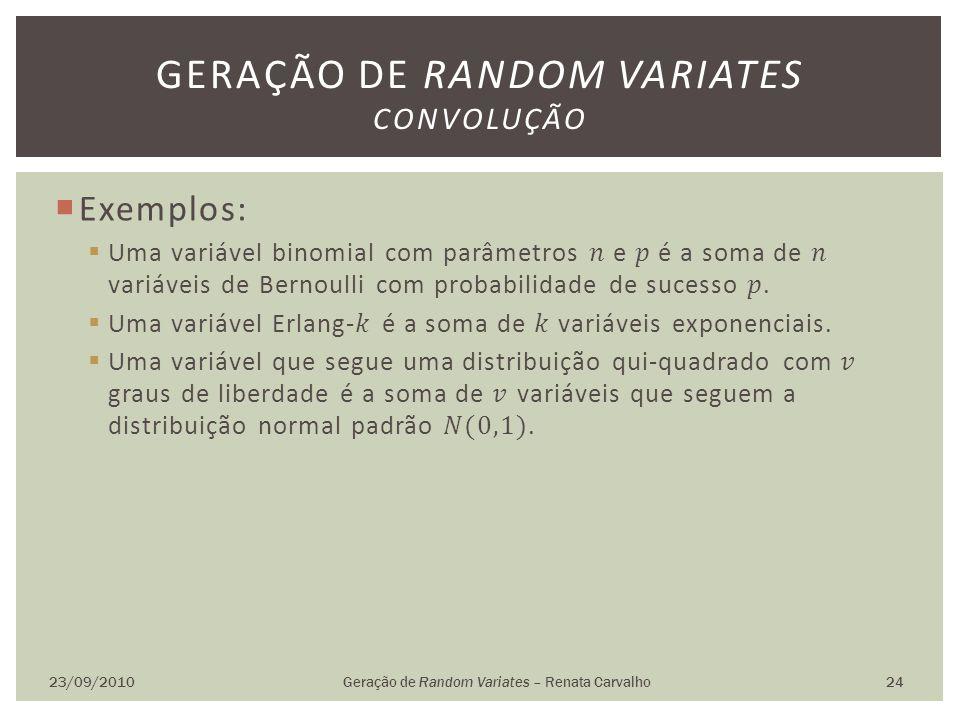 23/09/2010Geração de Random Variates – Renata Carvalho 24 GERAÇÃO DE RANDOM VARIATES CONVOLUÇÃO