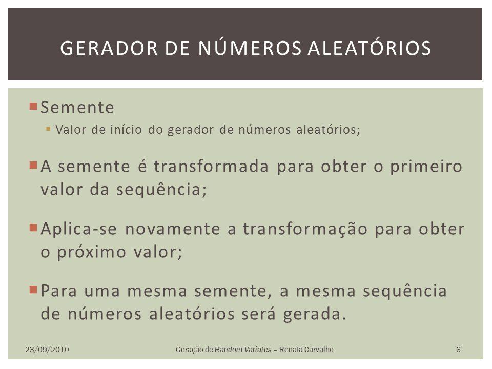 Semente Valor de início do gerador de números aleatórios; A semente é transformada para obter o primeiro valor da sequência; Aplica-se novamente a tra