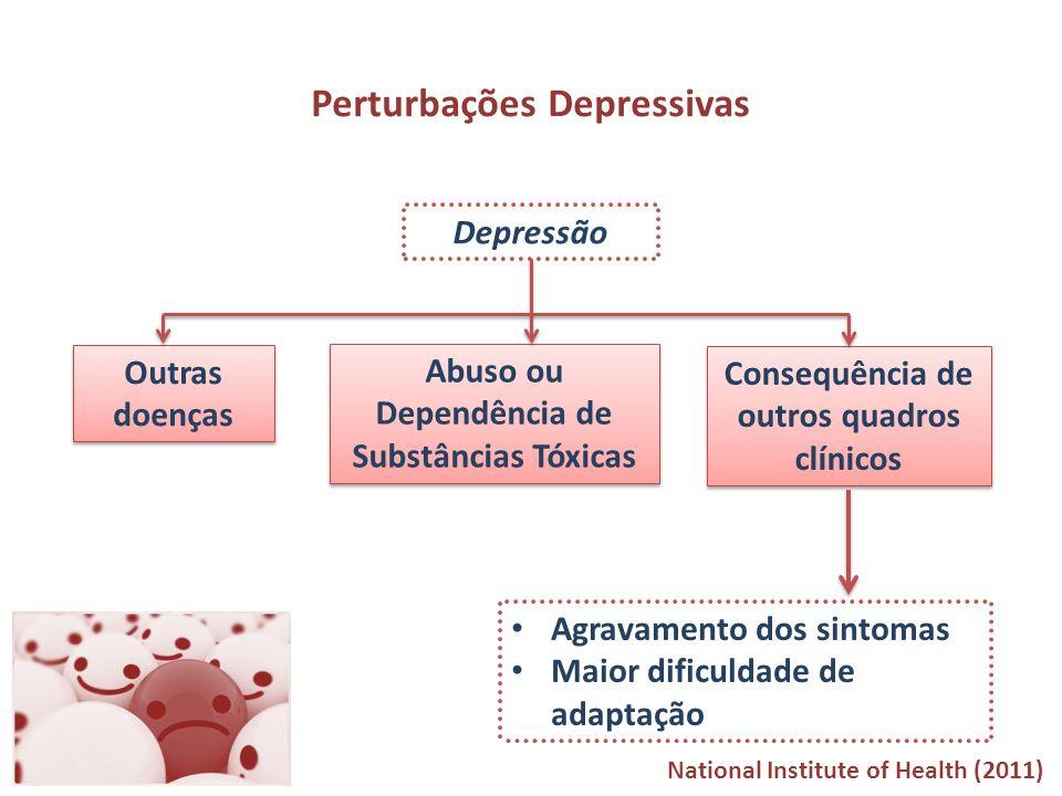 Depressão Perturbações Depressivas Outras doenças Abuso ou Dependência de Substâncias Tóxicas Consequência de outros quadros clínicos Agravamento dos