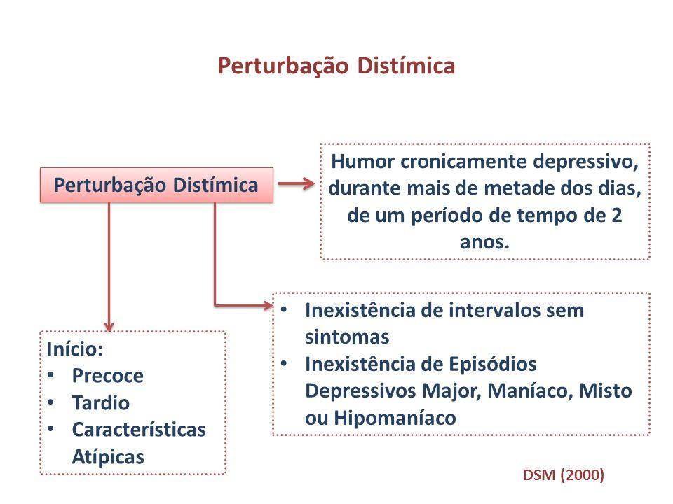 Perturbação Distímica Humor cronicamente depressivo, durante mais de metade dos dias, de um período de tempo de 2 anos. Inexistência de intervalos sem