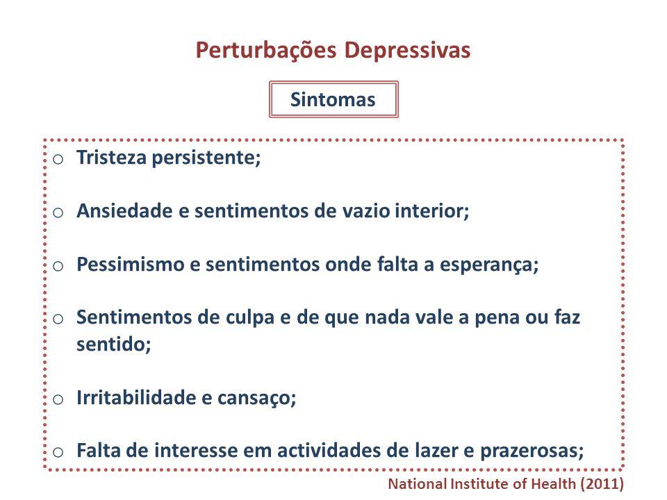 Perturbações Depressivas Sintomas o Tristeza persistente; o Ansiedade e sentimentos de vazio interior; o Pessimismo e sentimentos onde falta a esperan