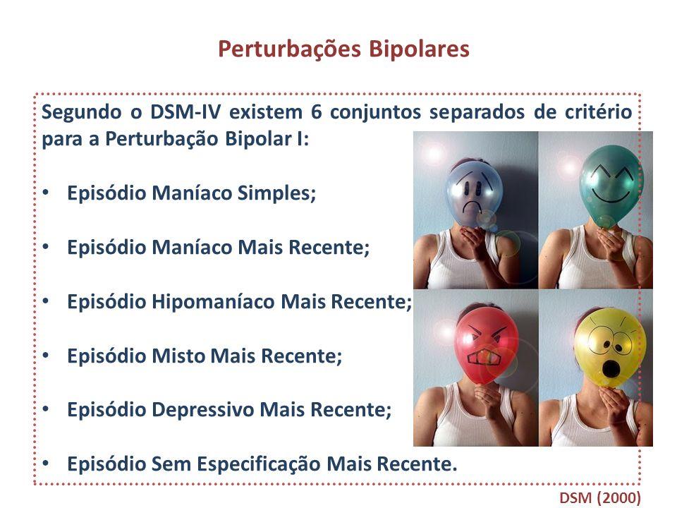 Perturbações Bipolares Segundo o DSM-IV existem 6 conjuntos separados de critério para a Perturbação Bipolar I: Episódio Maníaco Simples; Episódio Man