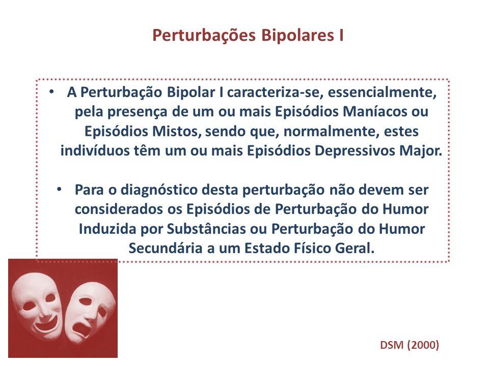 Perturbações Bipolares I A Perturbação Bipolar I caracteriza-se, essencialmente, pela presença de um ou mais Episódios Maníacos ou Episódios Mistos, s