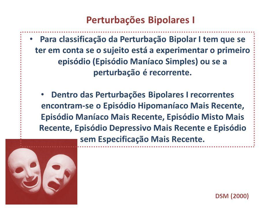 Para classificação da Perturbação Bipolar I tem que se ter em conta se o sujeito está a experimentar o primeiro episódio (Episódio Maníaco Simples) ou