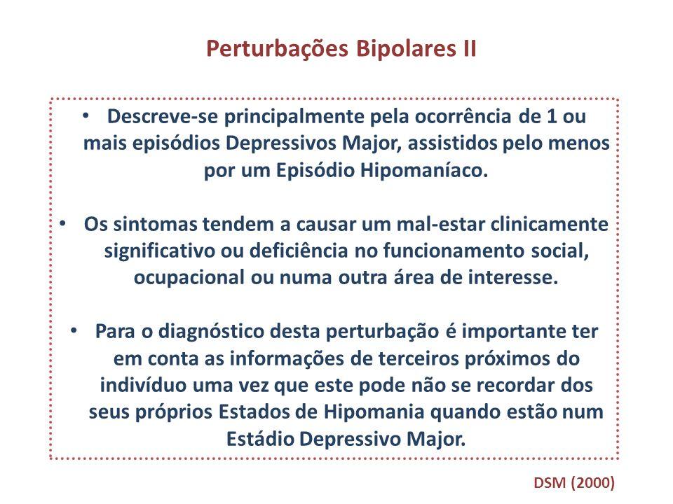 Perturbações Bipolares II Descreve-se principalmente pela ocorrência de 1 ou mais episódios Depressivos Major, assistidos pelo menos por um Episódio H