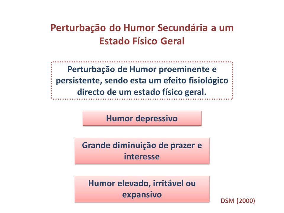 Perturbação do Humor Secundária a um Estado Físico Geral Perturbação de Humor proeminente e persistente, sendo esta um efeito fisiológico directo de u