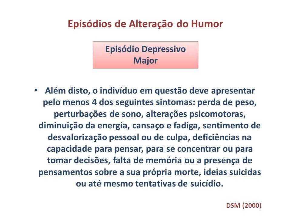 Episódios de Alteração do Humor Episódio Depressivo Major Além disto, o indivíduo em questão deve apresentar pelo menos 4 dos seguintes sintomas: perd