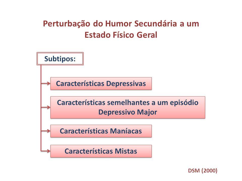 Perturbação do Humor Secundária a um Estado Físico Geral Subtipos: Características Depressivas Características semelhantes a um episódio Depressivo Ma