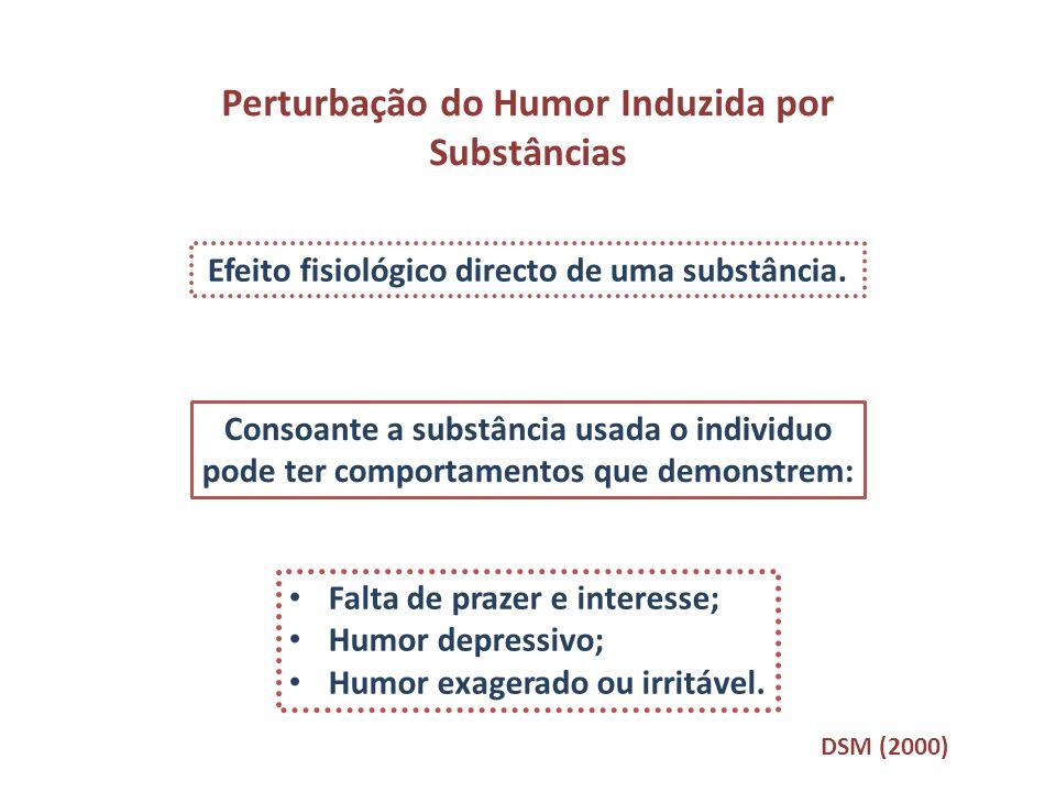 Perturbação do Humor Induzida por Substâncias Efeito fisiológico directo de uma substância. Consoante a substância usada o individuo pode ter comporta