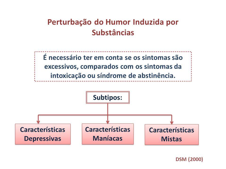 Perturbação do Humor Induzida por Substâncias É necessário ter em conta se os sintomas são excessivos, comparados com os sintomas da intoxicação ou sí