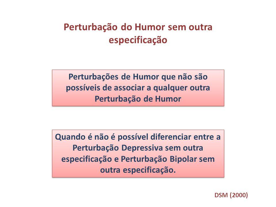 Perturbação do Humor sem outra especificação Perturbações de Humor que não são possíveis de associar a qualquer outra Perturbação de Humor Quando é nã