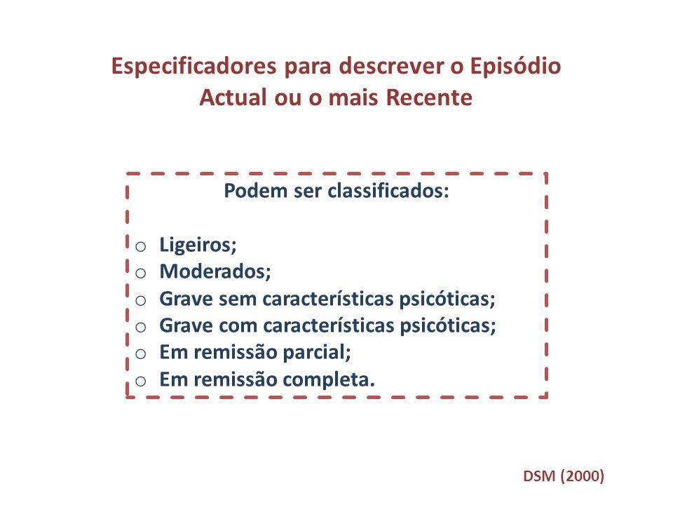 Especificadores para descrever o Episódio Actual ou o mais Recente Podem ser classificados: o Ligeiros; o Moderados; o Grave sem características psicó