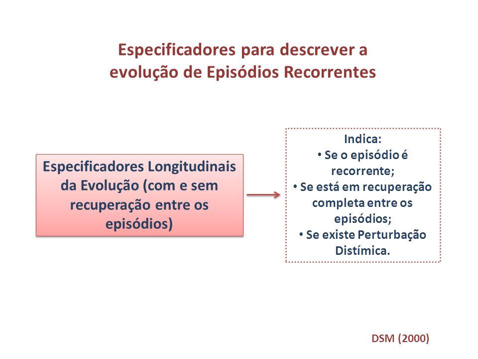 Especificadores para descrever a evolução de Episódios Recorrentes Especificadores Longitudinais da Evolução (com e sem recuperação entre os episódios