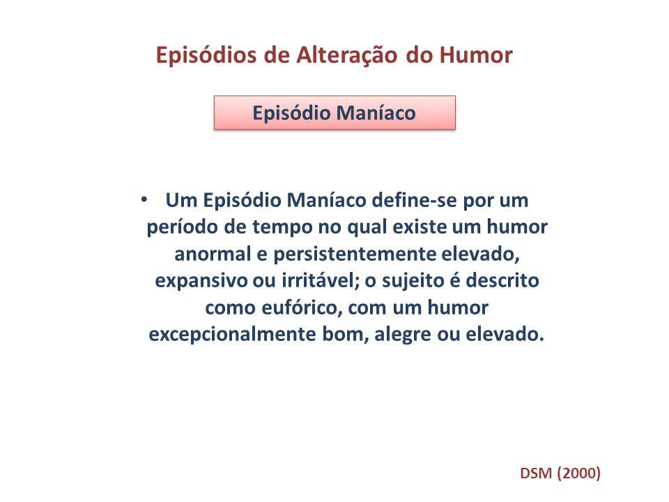 Um Episódio Maníaco define-se por um período de tempo no qual existe um humor anormal e persistentemente elevado, expansivo ou irritável; o sujeito é