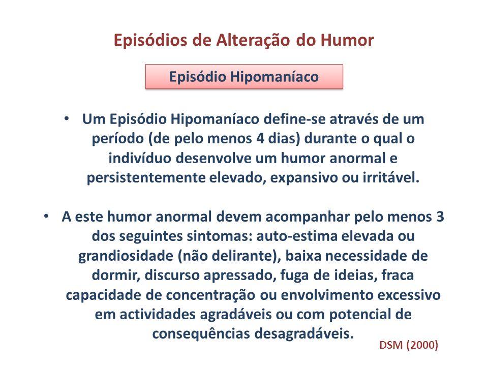 Um Episódio Hipomaníaco define-se através de um período (de pelo menos 4 dias) durante o qual o indivíduo desenvolve um humor anormal e persistentemen