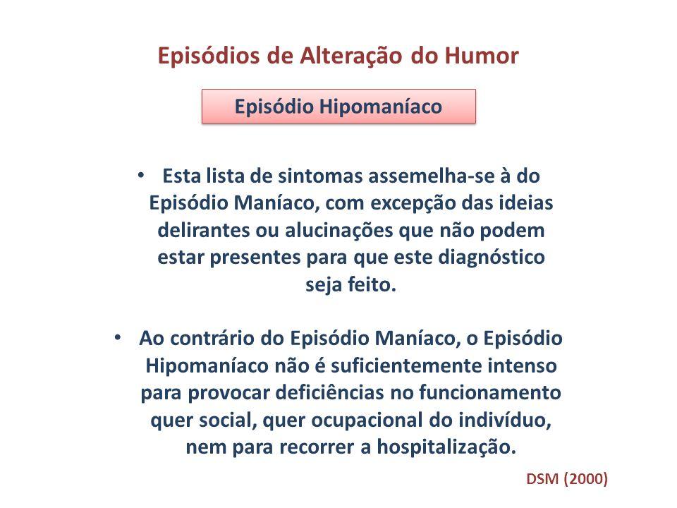 Episódios de Alteração do Humor Episódio Hipomaníaco Esta lista de sintomas assemelha-se à do Episódio Maníaco, com excepção das ideias delirantes ou