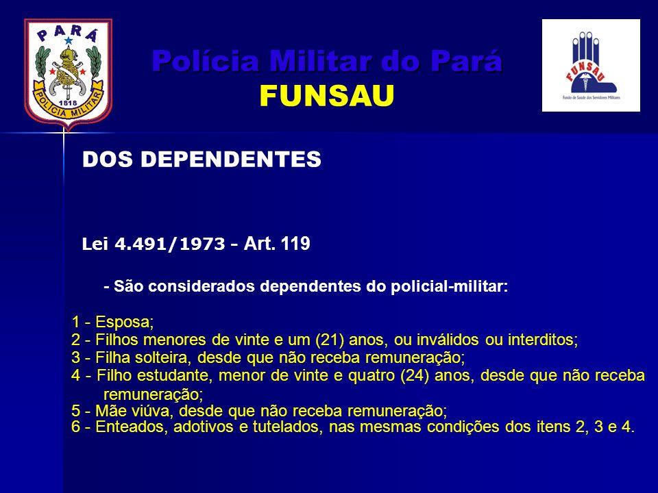 - São considerados dependentes do policial-militar: 1 - Esposa; 2 - Filhos menores de vinte e um (21) anos, ou inválidos ou interditos; 3 - Filha solt