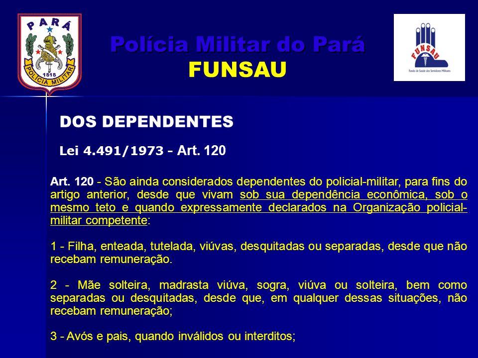 Art. 120 - São ainda considerados dependentes do policial-militar, para fins do artigo anterior, desde que vivam sob sua dependência econômica, sob o