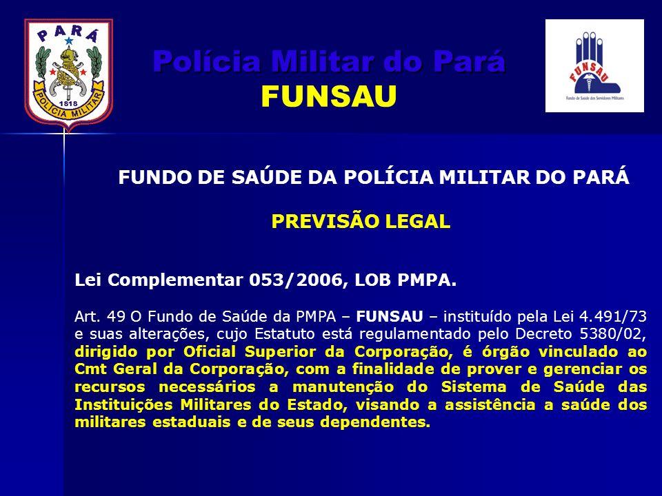 Polícia Militar do Pará Polícia Militar do Pará FUNSAU FUNDO DE SAÚDE DA POLÍCIA MILITAR DO PARÁ PREVISÃO LEGAL Lei Complementar 053/2006, LOB PMPA. A