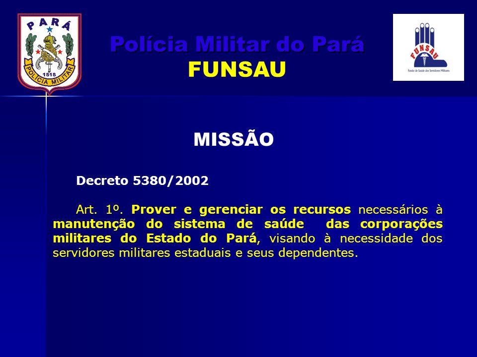 Decreto 5380/2002 Art. 1º. Prover e gerenciar os recursos necessários à manutenção do sistema de saúde das corporações militares do Estado do Pará, vi