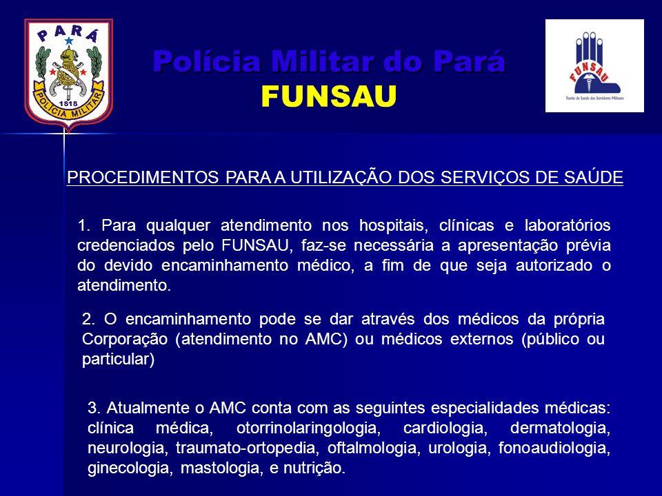 PROCEDIMENTOS PARA A UTILIZAÇÃO DOS SERVIÇOS DE SAÚDE 1. Para qualquer atendimento nos hospitais, clínicas e laboratórios credenciados pelo FUNSAU, fa