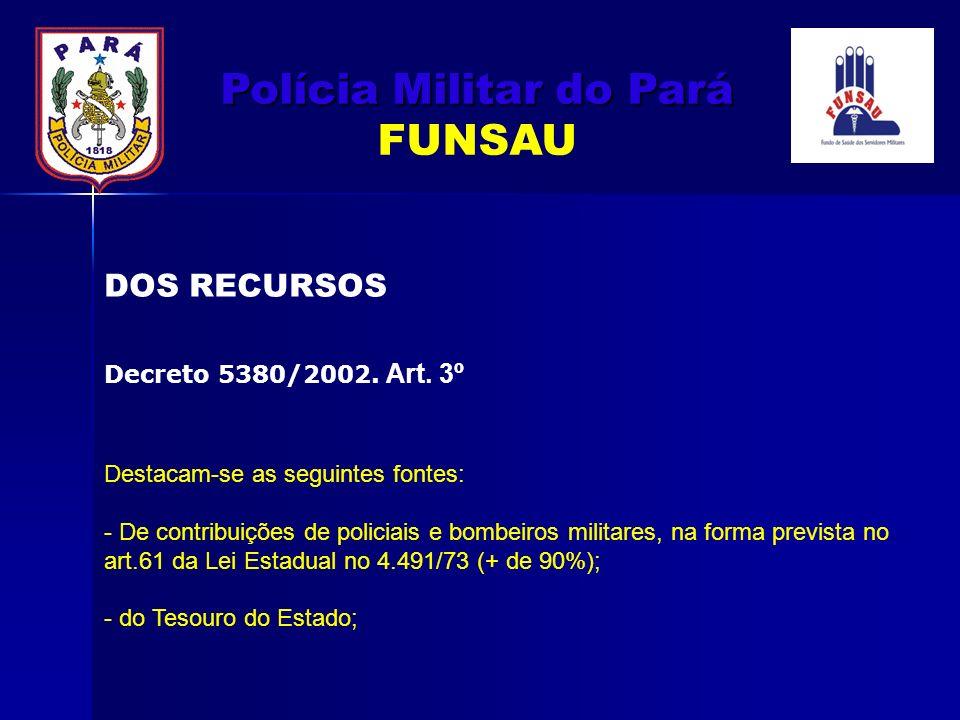 Destacam-se as seguintes fontes: - De contribuições de policiais e bombeiros militares, na forma prevista no art.61 da Lei Estadual no 4.491/73 (+ de