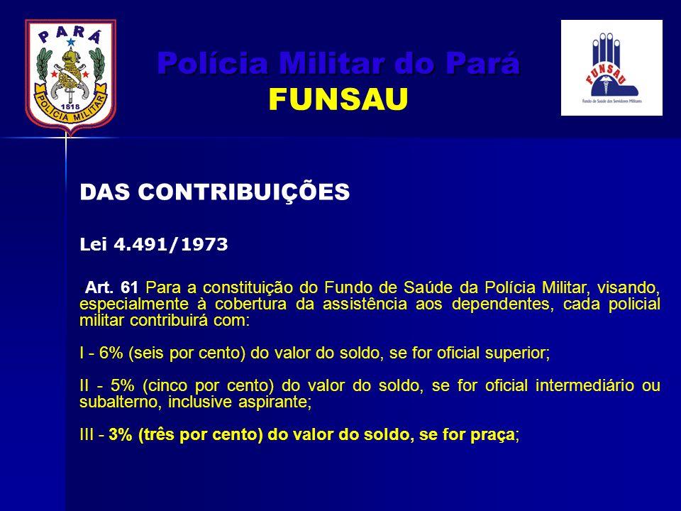 -Art. 61 Para a constituição do Fundo de Saúde da Polícia Militar, visando, especialmente à cobertura da assistência aos dependentes, cada policial mi