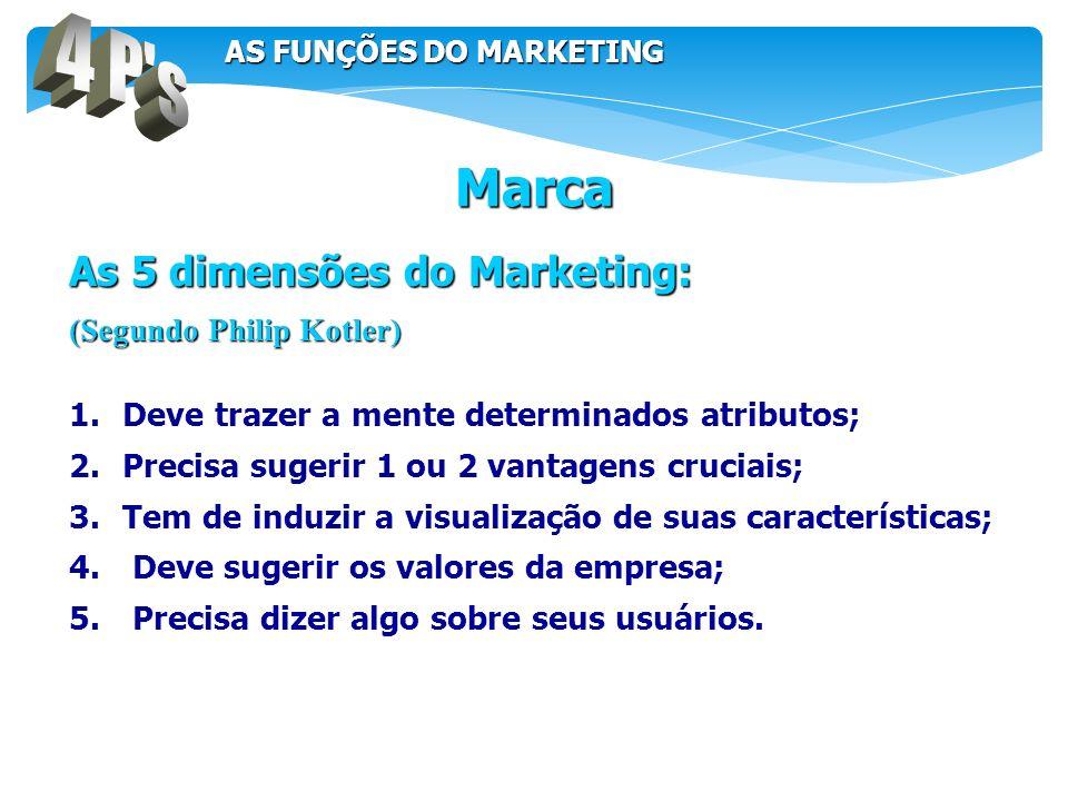As 5 dimensões do Marketing: (Segundo Philip Kotler) 1.Deve trazer a mente determinados atributos; 2.Precisa sugerir 1 ou 2 vantagens cruciais; 3.Tem