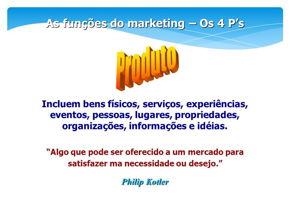 Algo que pode ser oferecido a um mercado para satisfazer ma necessidade ou desejo. As funções do marketing – Os 4 Ps Incluem bens físicos, serviços, e