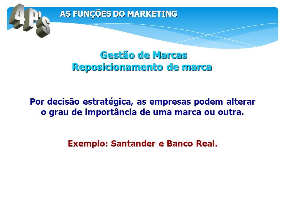 Por decisão estratégica, as empresas podem alterar o grau de importância de uma marca ou outra. Exemplo: Santander e Banco Real. Gestão de Marcas Gest